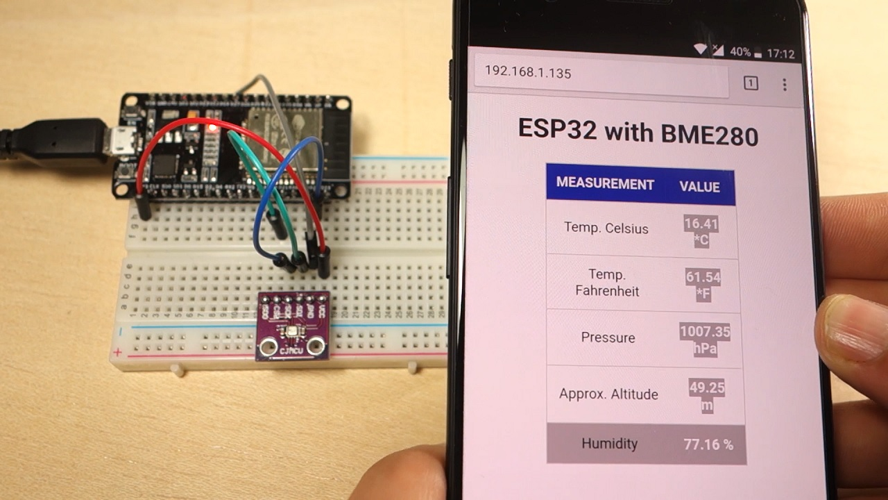 Esp32 Web Server With Bme280 Mini Weather Station