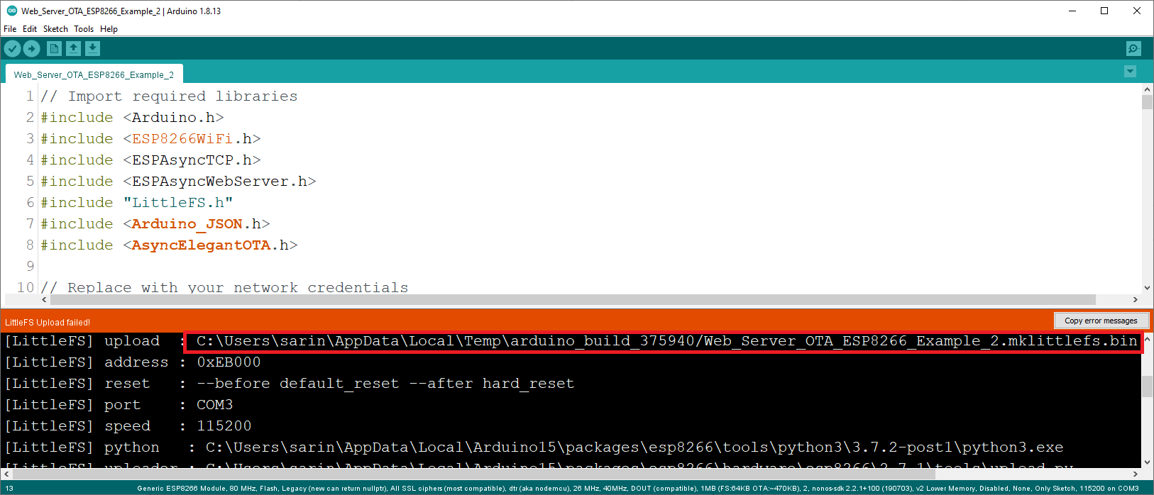 Get LittleFS Bin File Path ESP8266